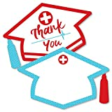Big Dot of Happiness Nurse Graduation - Shaped Thank You Cards - Medical Nursing Graduation Party Thank You Note Cards with Envelopes - Set of 12