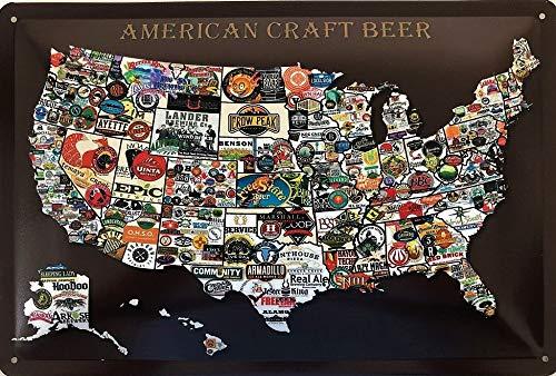 Deko7 Metalen bord 30 x 20 cm Amerikaans ambachtelijk bier