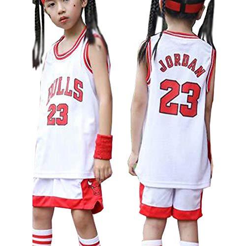 Jungen & Mädchen Chicago Bulls Michael Jordan 23# Jersey-Kids 2-teiliges Basketball-Performance-Tanktop mit Shorts Set Sportanzug-White-M