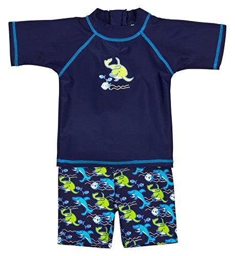 Landora® Baby- / Kleinkinder-Badebekleidung 2er Set mit UV-Schutz 50+ und Oeko-Tex 100 Zertifizierung in blau; Größe 98/104
