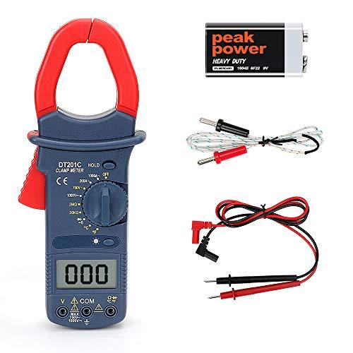 Clamp Meter,POWERAXIS Digital Multimeter,Zangenmessgerät Stromzange Multimeter, True RMS, Temperaturmessung, Außenleiter-Identifizierung, Durchgangsprüfung, Hintergrundbeleuchtung