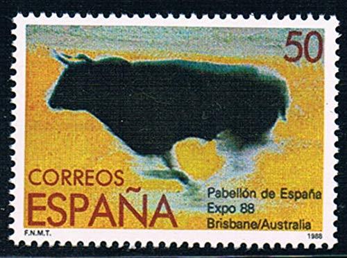 JCNL 4 unids/Set Nuevo Sello Postal de España 1988 Bull Brisbane Fair España Sellos