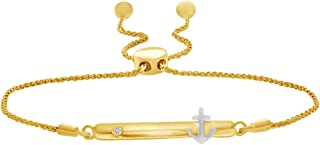 White Diamond Accent Anchor on Bar Bolo Bracelet in 14k Gold Over Sterling Silver & 10k Solid Gold- 9.5