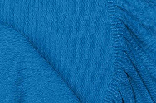 #14 Double Jersey Jersey Spannbettlaken, Spannbetttuch, Bettlaken, 160x200x30 cm, Cobalt - 8