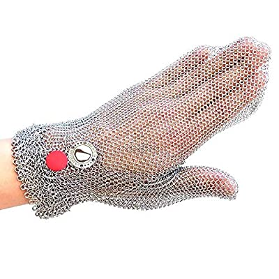 Oysters XO Cut-resistant, Stainless Steel Oyster Shucking Glove, One Size Fits All, easy to clean and dishwasher safe