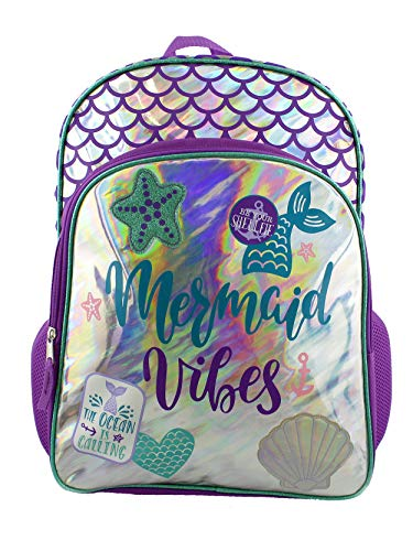 Mermaid Tail Girls Iridescent School Backpack Bag (One Size, Purple/Blue)