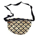 EMFGJ Riñonera para mujer con lentejuelas reversibles a la moda, con purpurina brillante, bolsillo para tarjetas de crédito, bolsa de hombro, color dorado