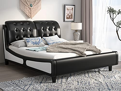 SHA CERLIN Queen Size Upholstered Platform Bed Frame with Curved headboard and Wood slats Support, Tufted Sleigh Headboard, No Box Spring Needed, Black and White