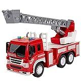 HERSITY Camión de Bomberos Grande con Luces y Sonidos Coches de Construccion Vehículos de Juguete Regalos para Niños 3 4 5 Años