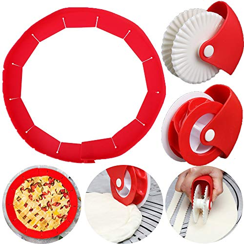 Pie Crust Protector Shield Pastry Wheel Decorator and Pastry Wheel Cutter ,Adjustable Silicone Pie Crust Shield Cover Kitchen Tool for Baking Pie Pizza, Fit 8-11.4 Inch Pies