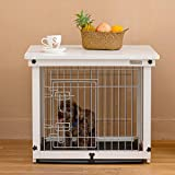 Simply +Wood Wire Dog Crate Table, White Dog Kennel with Slide Tray and Detachable Indoor Pet Crate Side Table,for Small Dog
