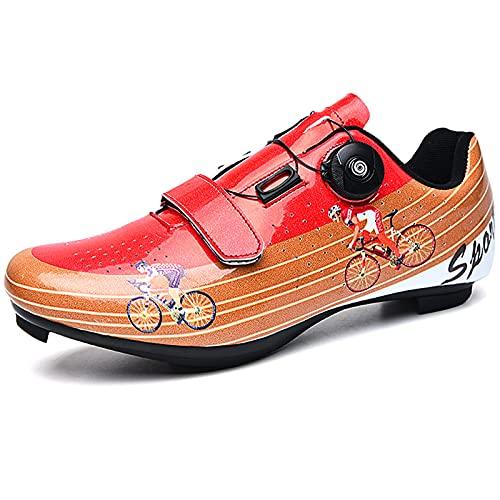 YQSHOES Zapatillas Ciclismo Carretera, Compatibles con Cala SPD y Delta, Aptas para Interior/Exterior,B,39EU/7UK/7.5US