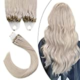 Ugeat Micro Ring Cabello Ring Hair Cabello Remy Humano Extensiones 14 Pulgadas Rubia Blanca #60A 50g 1g/s