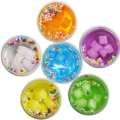 SWZY Fluffy Slime Kristall Schleim Neueste Jelly Cube Schleim Schwamm Obst Kokosnuss Schlamm Wolke Schleim, 6 Farben