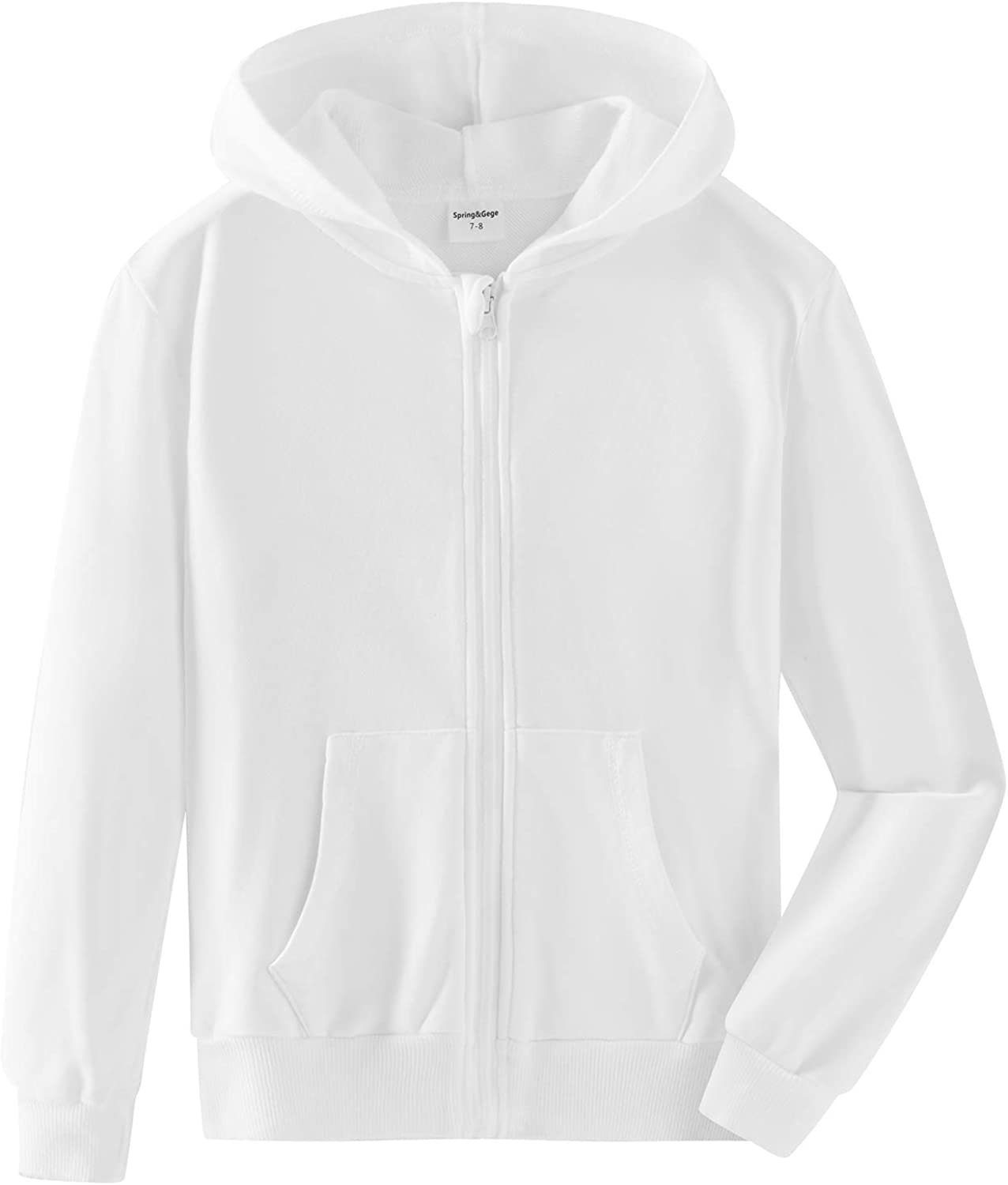 Spring&Gege Youth Solid Classic Hoodies Soft Hooded Full Zip Sweatshirts for Children (3-12 Years)