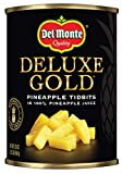 Del Monte Canned Gold Pineapple Tidbits In 100% Pineapple Juice, 20 Oz, Pack of 12