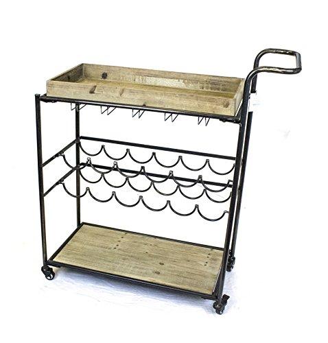 Sagebrook Home Metal & Wood Serving Cart, Black Metal, 36 x 14 x 38.5 Inches
