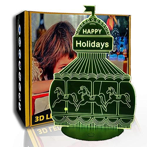 JINYI Lámpara de ilusión creativa 3D Carrusel, luz nocturna LED, regalo para niños, A- Touch negra Base (7 colores), Lámpara de mesa, Alta calidad