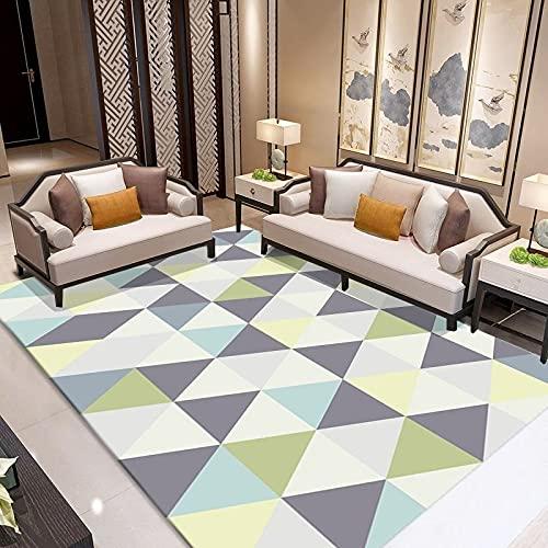 MENEFBS Teppich Wohnzimmer Bunt Pastellfarben Rauten Muster 3-D Design Kurzflor Robusto 120 x 160 cm