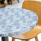 Round Tablecloth Elastic Edged Marble Vinyl Table Cover Fits for 44 - 55 Inch Waterproof Durable Kitchen Decor