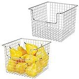 mDesign Juego de 2 cestas organizadoras multiusos en alambre de metal – Versátil organizador de cocina, despensa, etc. – Cesta de metal con recubrimiento inoxidable – plateado