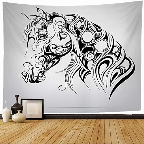 Mehennne Tapestry Wall Hanging Silhouette Horses Animal Line Head Celtic Decoration Mascot Symbol Ornament Animals Horse Wildlife Tapestry for Bedroom Living Room Dorm Decor 60'x60'