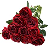 Nubry Artificial Silk Rose Flower Bouquet Lifelike Fake Rose for Wedding Home Party Decoration Event Gift 10pcs (Gradient Wine Red)