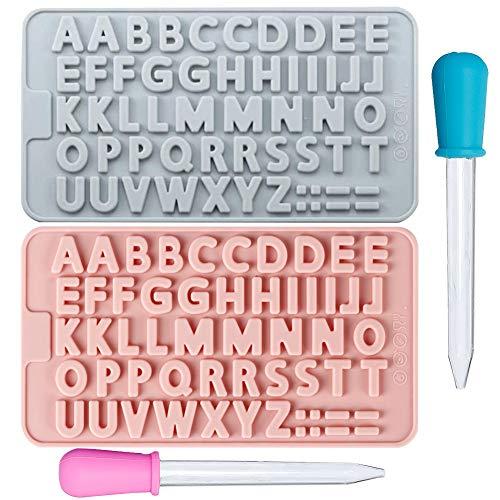 Hedmedum 2 PCS Silikon Englisch Buchstabe Form Nummer Symbole Alphabet Form zum Backen Fondant Kuchen Dekorieren Cupcake Keks Mit 2 Tropfern (Blau, Pink)
