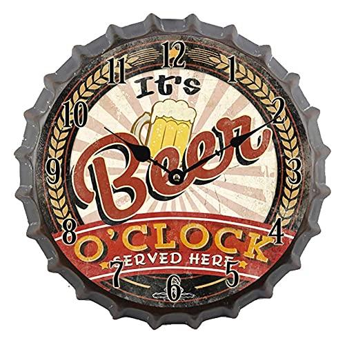 FGVBC Reloj de Pared de Cerveza de Estilo Retro, Reloj de Pared Colgante de Metal Decorativo Redondo Antiguo, Tapa de Botella de Cerveza Grande para Sala de Juegos de Hombre, con Pilas-b 14 Pulgadas