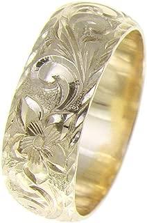 14K yellow gold hand engraved Hawaiian plumeria scroll ring diamond cut edge 8mm