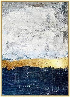 لوحة زيتية 100x70 سم | جولدن هورايزون | لوحة زيتية تجريدية يدوية الصنع، تصميم فريد على قماش قطني وإطار ذهبي لمنزلك. لوحة ج...