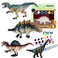 子供のための4PCS 3D絵画恐竜DIYの落書きのおもちゃ、恐竜工芸品セット恐竜パーティー用品の好意 (スタイル1)