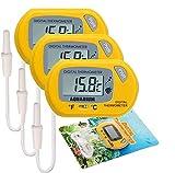 Electrely 3Stück Aquarium Thermometer, Digital LCD Thermometer für Terrarium, Aquarium und Vivarium (Gelb) -