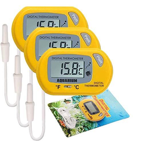 Electrely 3Stück Aquarium Thermometer, Digital LCD Thermometer für Terrarium, Aquarium und Vivarium (Gelb)