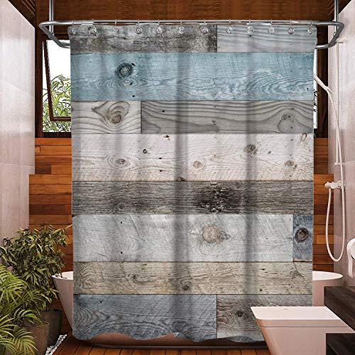 "Wooden Shower Curtain Rustic Shower Curtain Farmhouse Shower Curtain Barn Door Blue Teal Floor Planks Wood Looking Western Country Shower Curtain Vintage Bath Curtain for Bathroom Decor(70"" L70 W)"