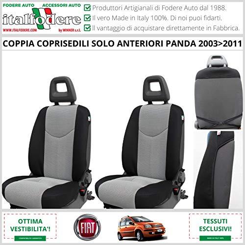 Par de fundas delanteras para asientos de Fiat Panda (169 – II Serie) desde 2003 a 2011. Fundas para respaldos, fundas para asientos de coche, varios colores (gris red 13)