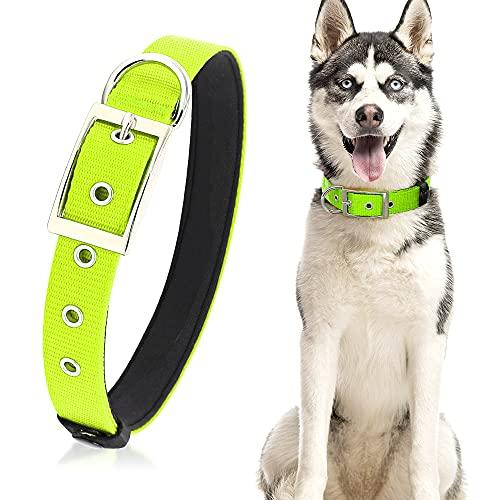 PZRLit Collar Perro Resistente con Suave Acolchado Neopreno, Hebilla de Metal y Anillo en D, Ajustable Transpirable Collares Perros Ancho para la Caminata Diaria Corriendo-Verde,Ultra Grande