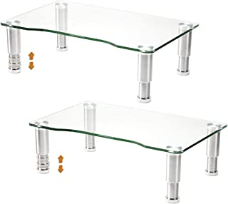 2 Pack Computer Monitor Riser with Height Adjustable Multi Media Desktop Stand for Flat Screen LCD LED TV, Laptop/Notebook...