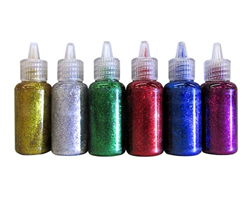 Bazic Products 6 Color Glitter Glue Set 20 Milliliter Bottles - Classic Colors - Green, Gold, red, Silver, Blue, and Purple
