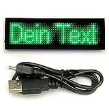 LED-Gadget USB LED-Laufschrift Schild Wearable Fashiontech LED Namensschild Lauftext mit grüner...