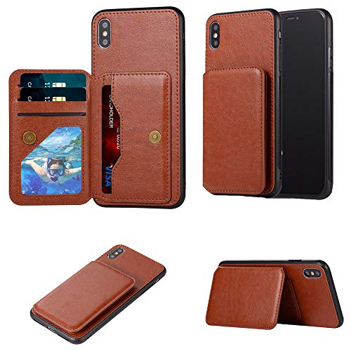 Accessories for iPhone X Case with Card Holder,iPhone Xs Case with Card Holder, Premium PU Leather Wallet with Kickstand Back Flip Cover for iPhone X Case,iPhone Xs Case (Brown)