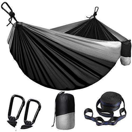 Camping Hammock for Outdoors Travel Backpacking,Camping Gear-Double Hammock with Tree Straps(18+1 Loops) & Carabiners, Nylon Portable Hammock, 2 Person Hammock for Tree & Hiking Gear-660lbs