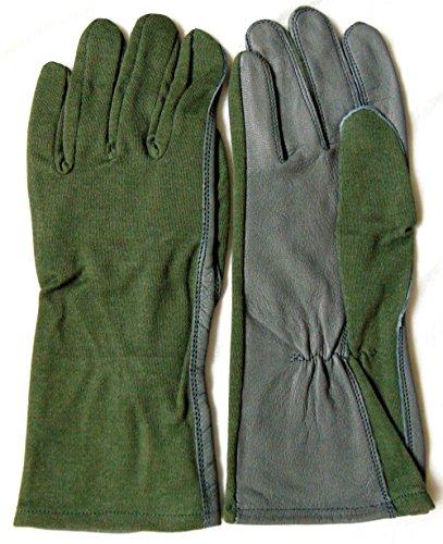 Fliegerhandschuhe im Piloten-Stil, salbeigrün und grau, Nomex-Leder, Sage Green/Gray