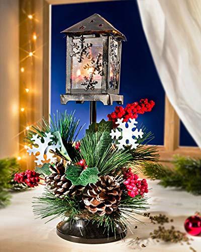 Holzdrehteile Weihnachtsgesteck Winter Weihnachten Laterne Teelicht Windlicht Kerze Tisch- u. Fensterdeko Gesteck