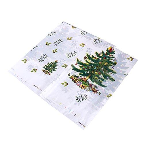 OULII 2pcs PVC tovaglia di Natale albero di Natale stampato rettangolare 110x180cm