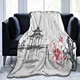Throw Blanket Traditional Japanese Oil Painting Mountain Cherry Blossom Fleece Blanket Super Soft Baby Blanket Warm Blankets Summer Air Conditioner Fleece Throw