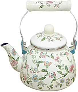 Enamel Tea Kettle Floral Water Kettle, Steel with Enamel Finish, 1.7-Quart, Ivory White