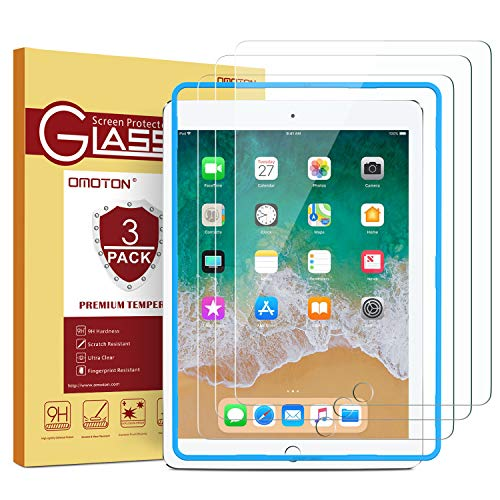 [3 Pack] iPad 9.7 6th Generation Screen Protector, OMOTON Tempered Glass Screen Protector for Apple iPad 9.7' (2018 & 2017) / iPad Pro 9.7 Inch / iPad Air 2 / iPad Air 9.7 Inch