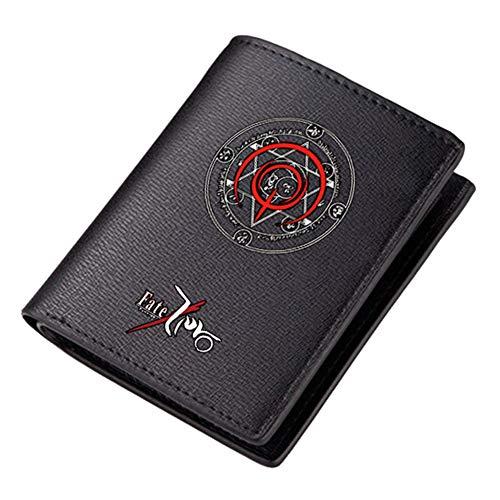 WANHONGYUE Fate Zero Cartera de Cuero Artificial Billetera Hombres Portatarjetas Tarjetero con Impresión Anime Negro 2 / A