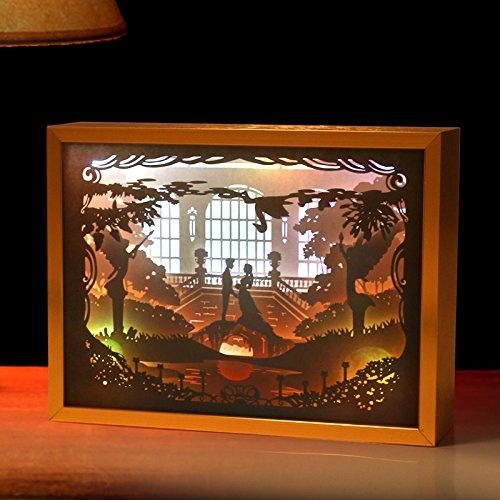 Q&M Lumière et ombre papier sculpté lampe LED tridimensionnelle lumière de nuit créative maison papier découpages